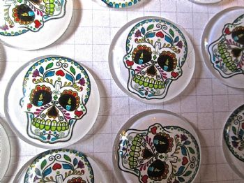 6 Sugar Skull Glass Dome Shaped Cabochons  Day of the Dead Halloween